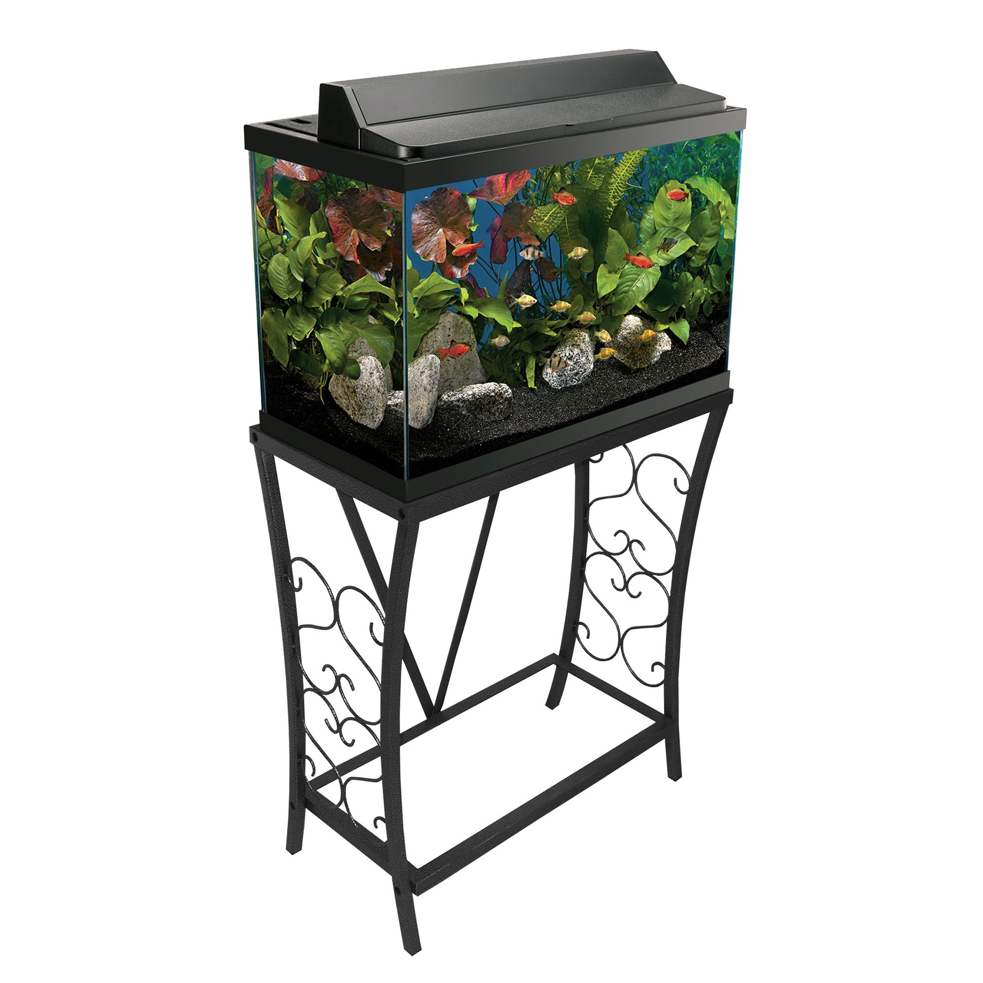 Aquatic Fundamentals Black Scroll Aquarium Stand, 20 Gallons