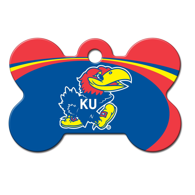 Quick-Tag Kansas Jayhawks NCAA Bone Personalized Engraved Pet ID Tag, Large
