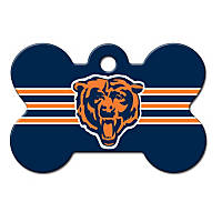 Quick-Tag Chicago Bears NFL Bone Personalized Engraved Pet ID Tag, Large