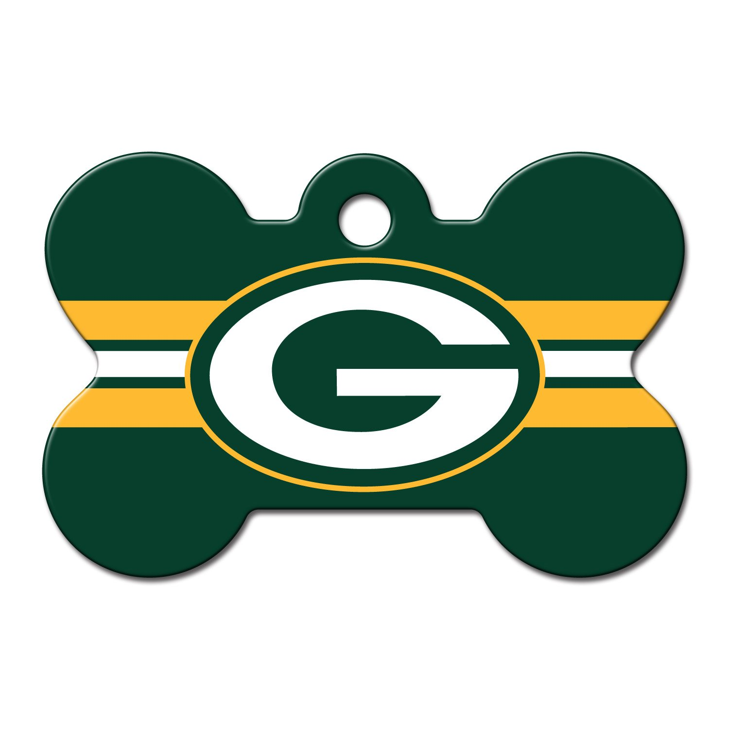 Quick-Tag Green Bay Packers NFL Bone Personalized Engraved Pet ID Tag, Large