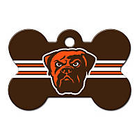 Quick-Tag Cleveland Browns NFL Bone Personalized Engraved Pet ID Tag, Large