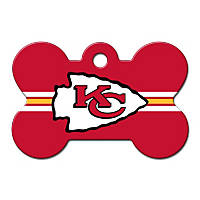 Quick-Tag Kansas City Chiefs NFL Bone Personalized Engraved Pet ID Tag, Large