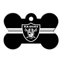 Quick-Tag Oakland Raiders NFL Bone Personalized Engraved Pet ID Tag, Large