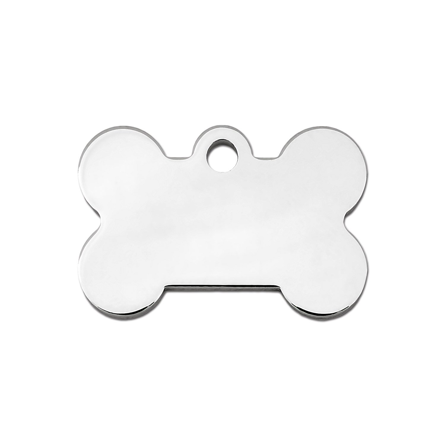 Quick-Tag Chrome Bone Personalized Engraved Pet ID Tag, Small
