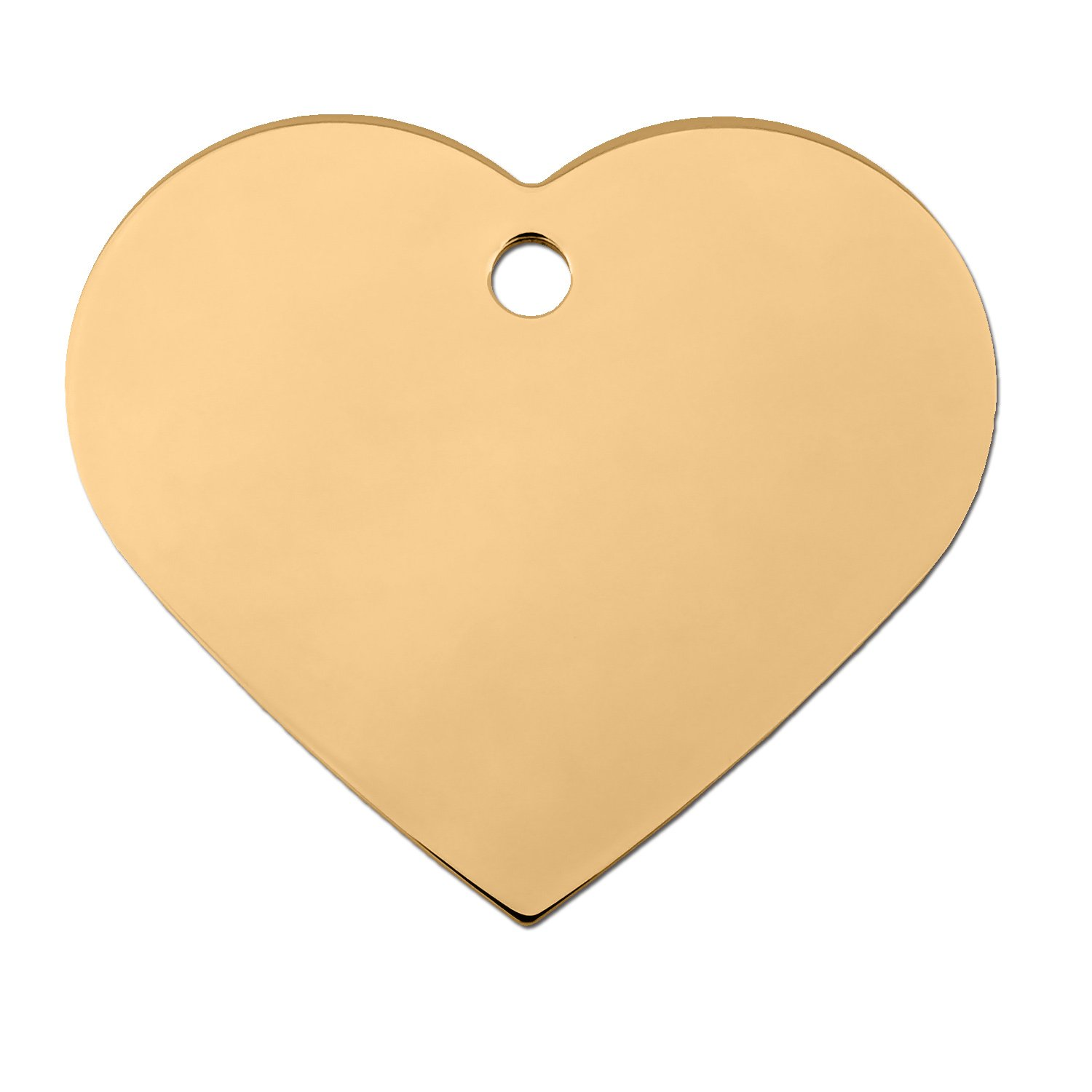 Quick-Tag Gold Heart Personalized Engraved Pet ID Tag, Large