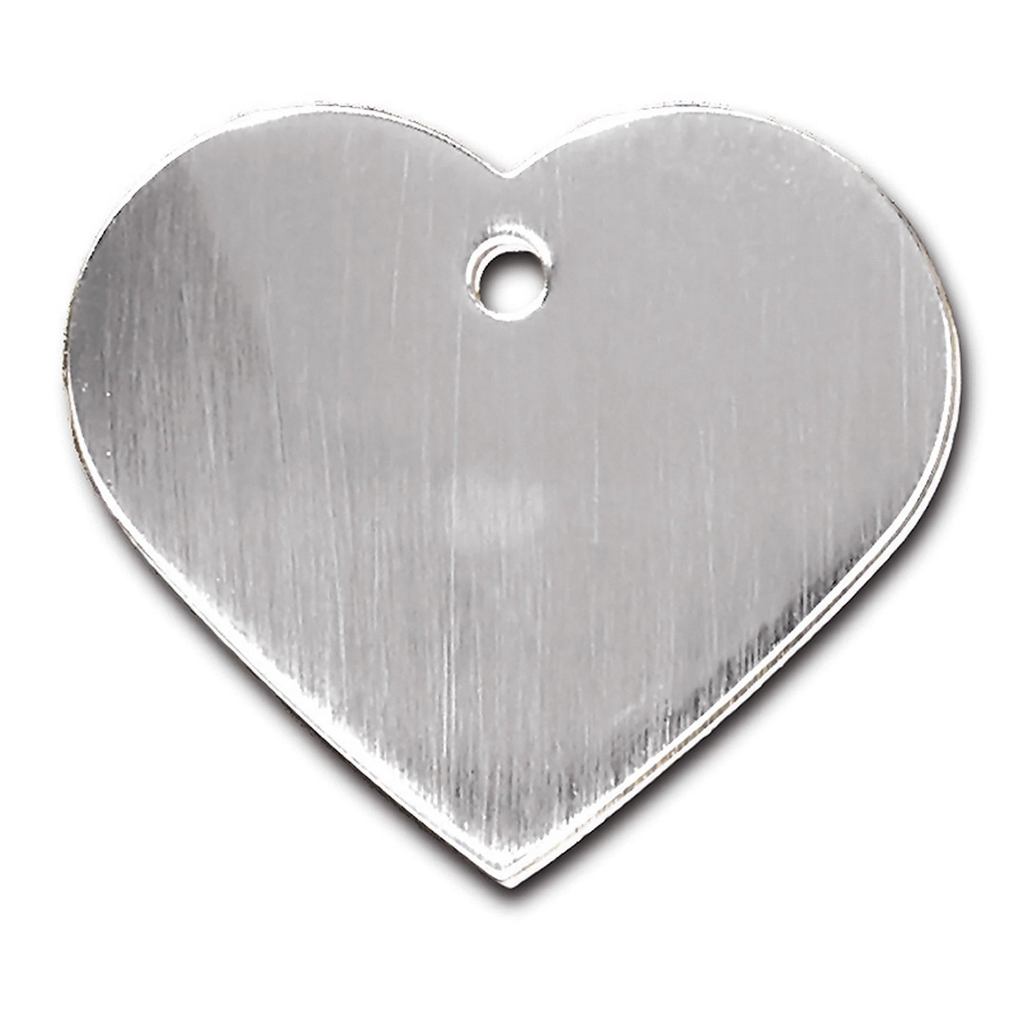 Quick-Tag Brushed Chrome Heart Personalized Engraved Pet ID Tag, Large