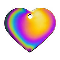 Quick-Tag Rainbow Heart Personalized Engraved Pet ID Tag, Large