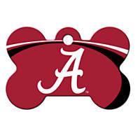 Quick-Tag Alabama Crimson Tide NCAA Bone Personalized Engraved Pet ID Tag, Large