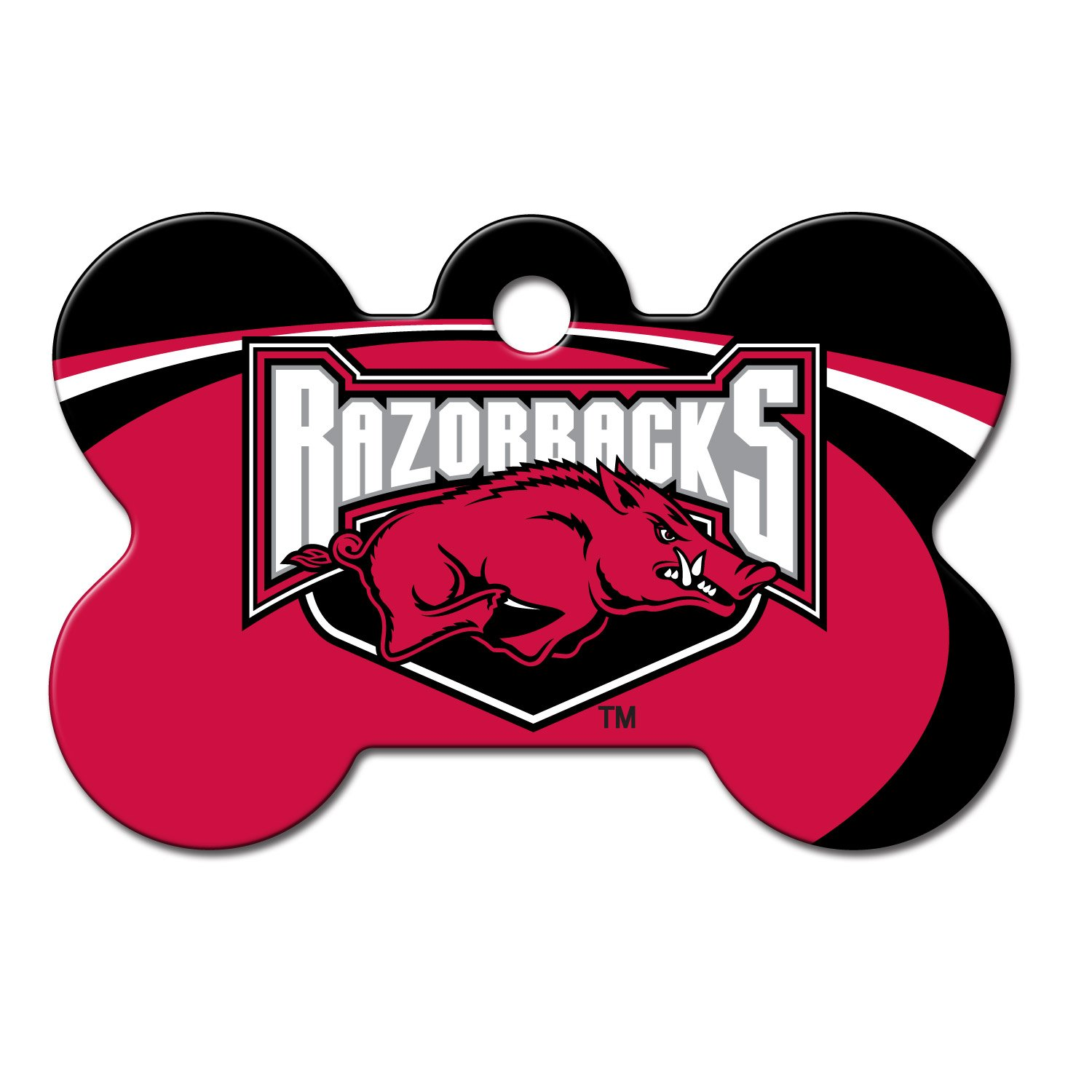 Quick-Tag Arkansas Razorbacks NCAA Bone Personalized Engraved Pet ID Tag, Large