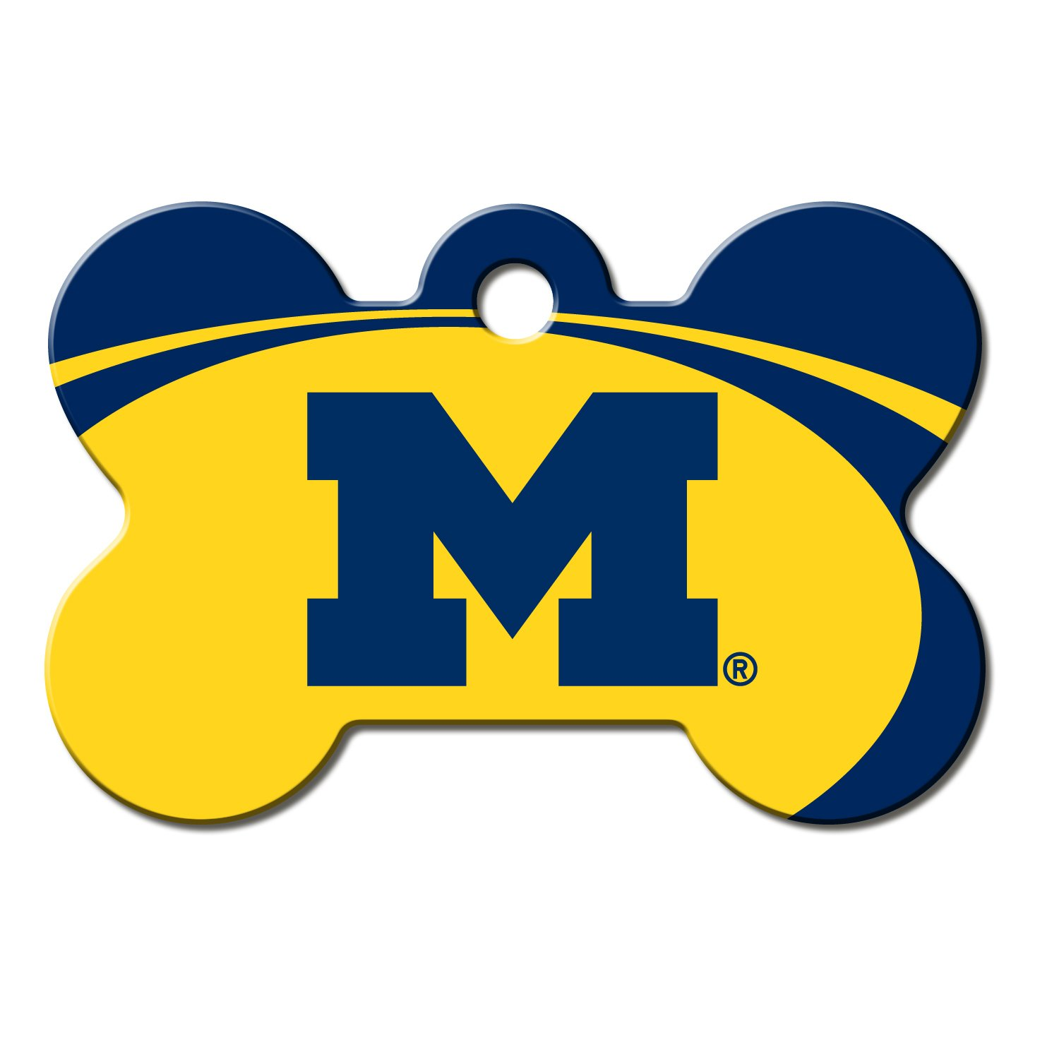 Quick-Tag Michigan Wolverines NCAA Bone Personalized Engraved Pet ID Tag, Large