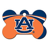 Quick-Tag Auburn Tigers NCAA Bone Personalized Engraved Pet ID Tag, Large