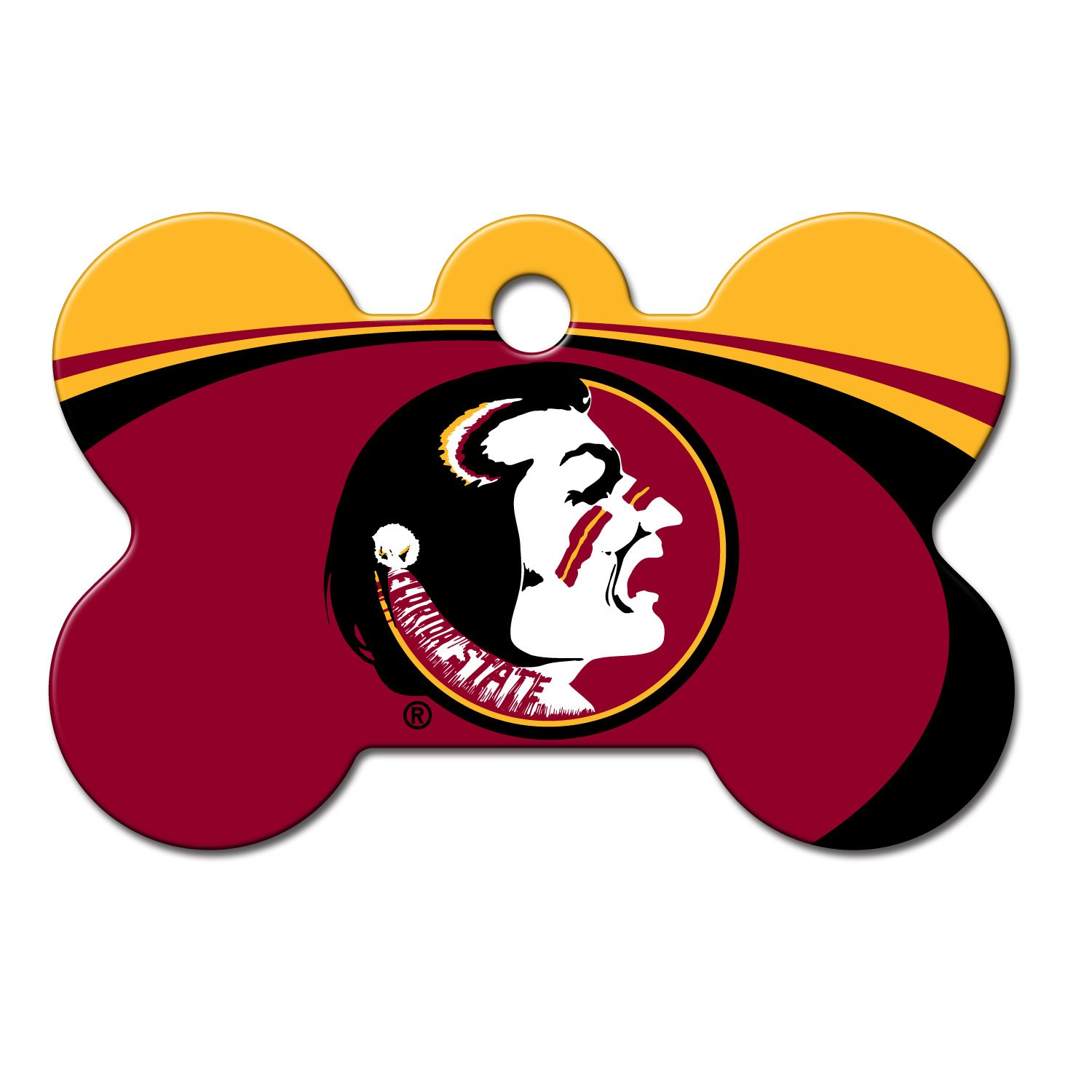 Quick-Tag Florida State Seminoles NCAA Bone Personalized Engraved Pet ID Tag, Large