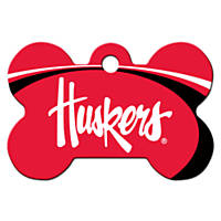 Quick-Tag Nebraska Cornhuskers NCAA Bone Personalized Engraved Pet ID Tag, Large