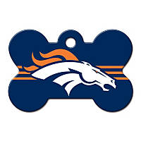 Quick-Tag Denver Broncos NFL Bone Personalized Engraved Pet ID Tag, Large