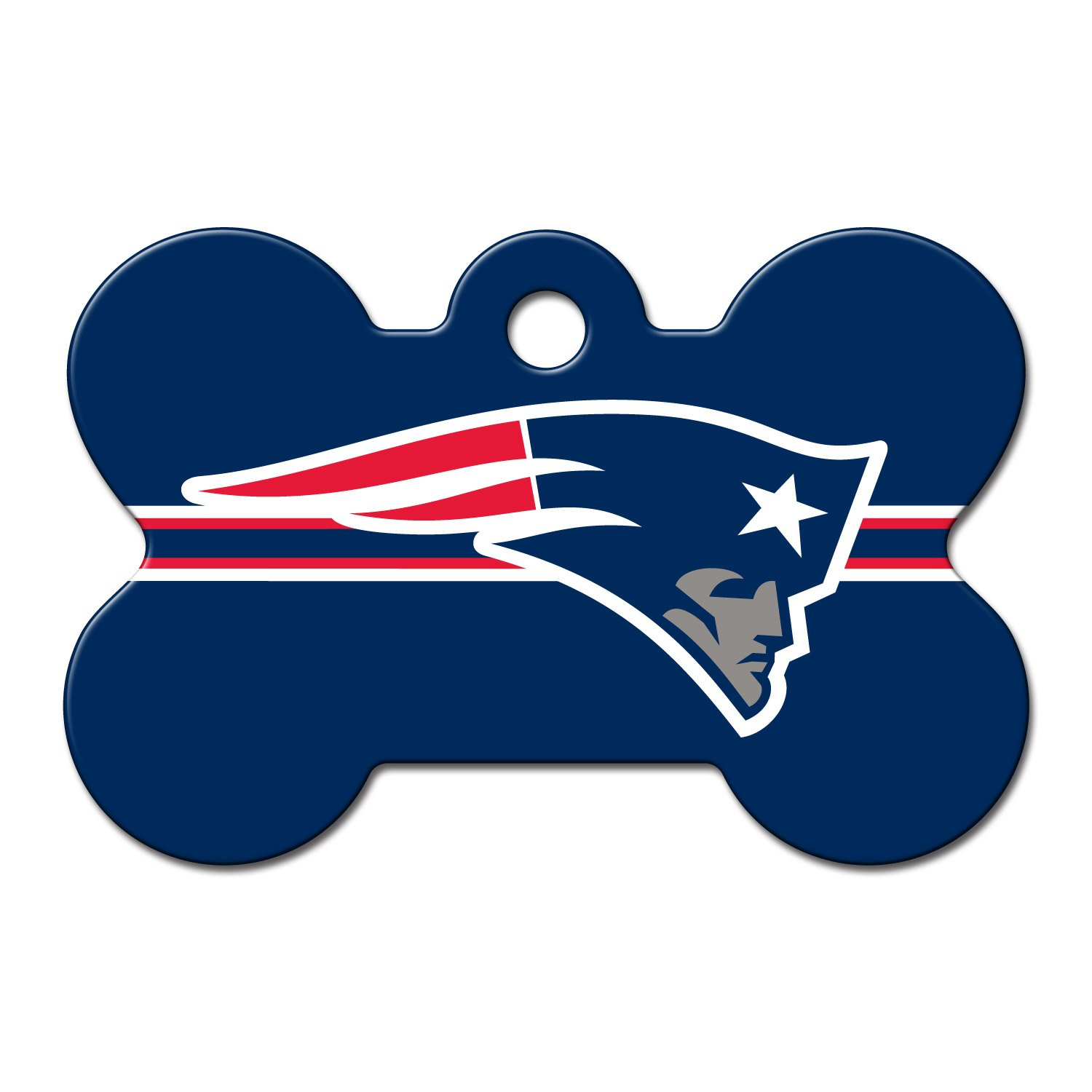 Quick-Tag New England Patriots NFL Bone Personalized Engraved Pet ID Tag, Large