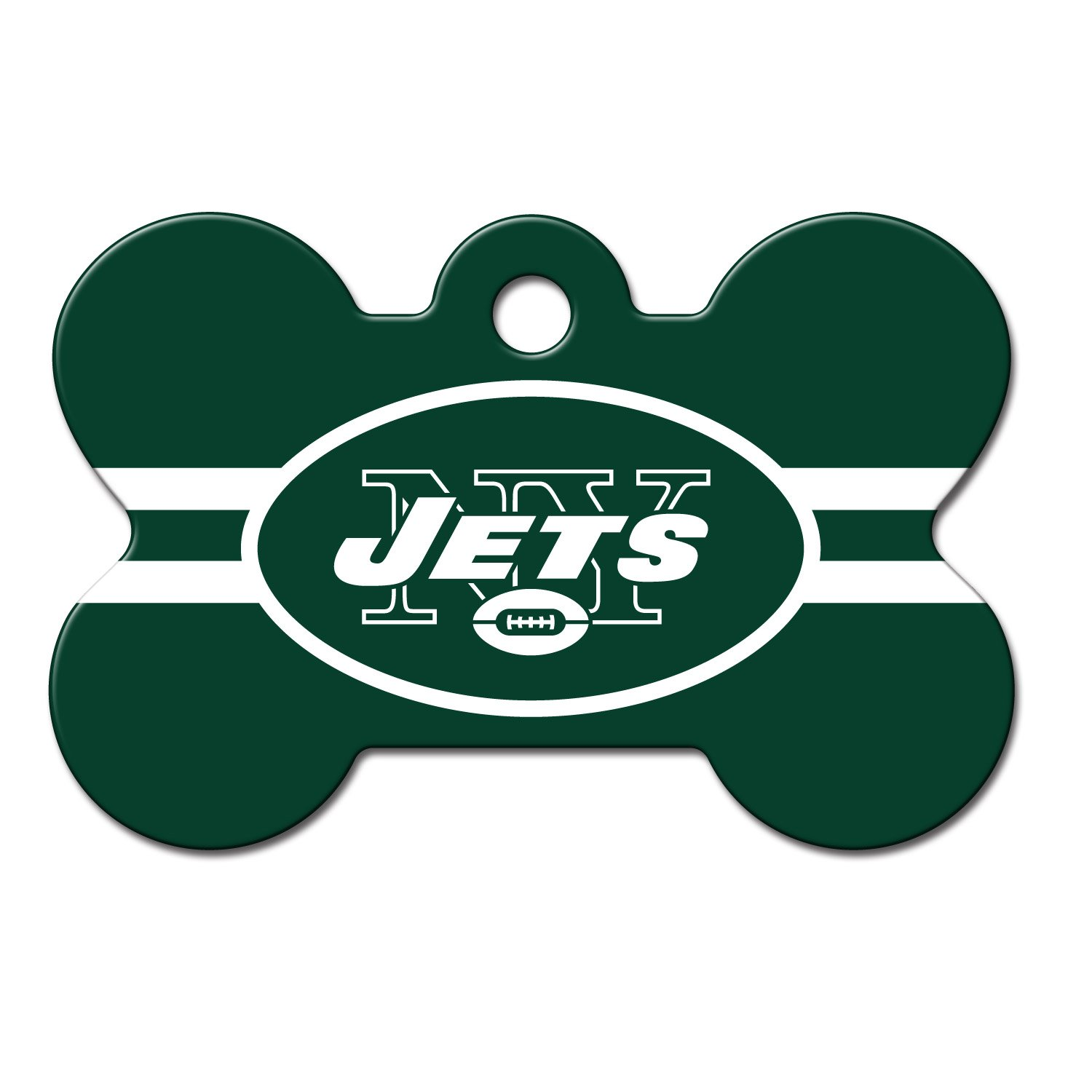 Quick-Tag New York Jets NFL Bone Personalized Engraved Pet ID Tag, Large