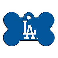 Quick-Tag Los Angeles Dodgers MLB Bone Personalized Engraved Pet ID Tag, Large