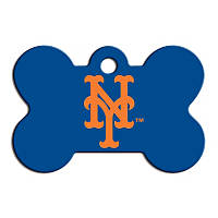 Quick-Tag New York Mets MLB Bone Personalized Engraved Pet ID Tag, Large