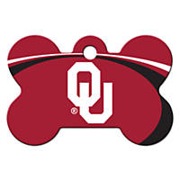 Quick-Tag Oklahoma Sooners NCAA Bone Personalized Engraved Pet ID Tag, Large