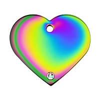 Quick-Tag Crystal Rainbow Heart Personalized Engraved Pet ID Tag, Large