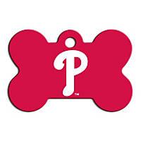 Quick-Tag Philadelphia Phillies MLB Bone Personalized Engraved Pet ID Tag, Large