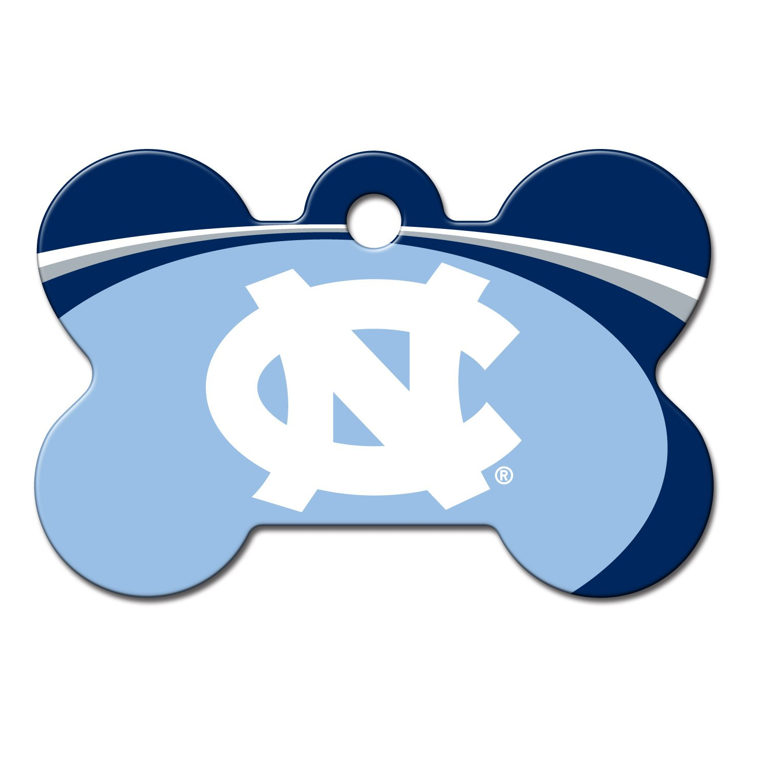 Quick-Tag UNC Tarheels NCAA Bone Personalized Engraved Pet ID Tag, Large
