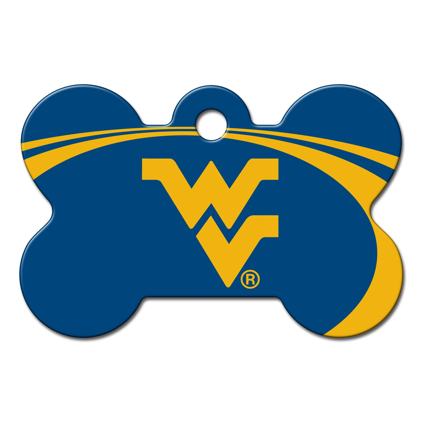 Quick-Tag West Virginia Mountaineers NCAA Bone Personalized Engraved Pet ID Tag, Large
