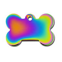 Quick-Tag Rainbow Bone Personalized Engraved Pet ID Tag, Large