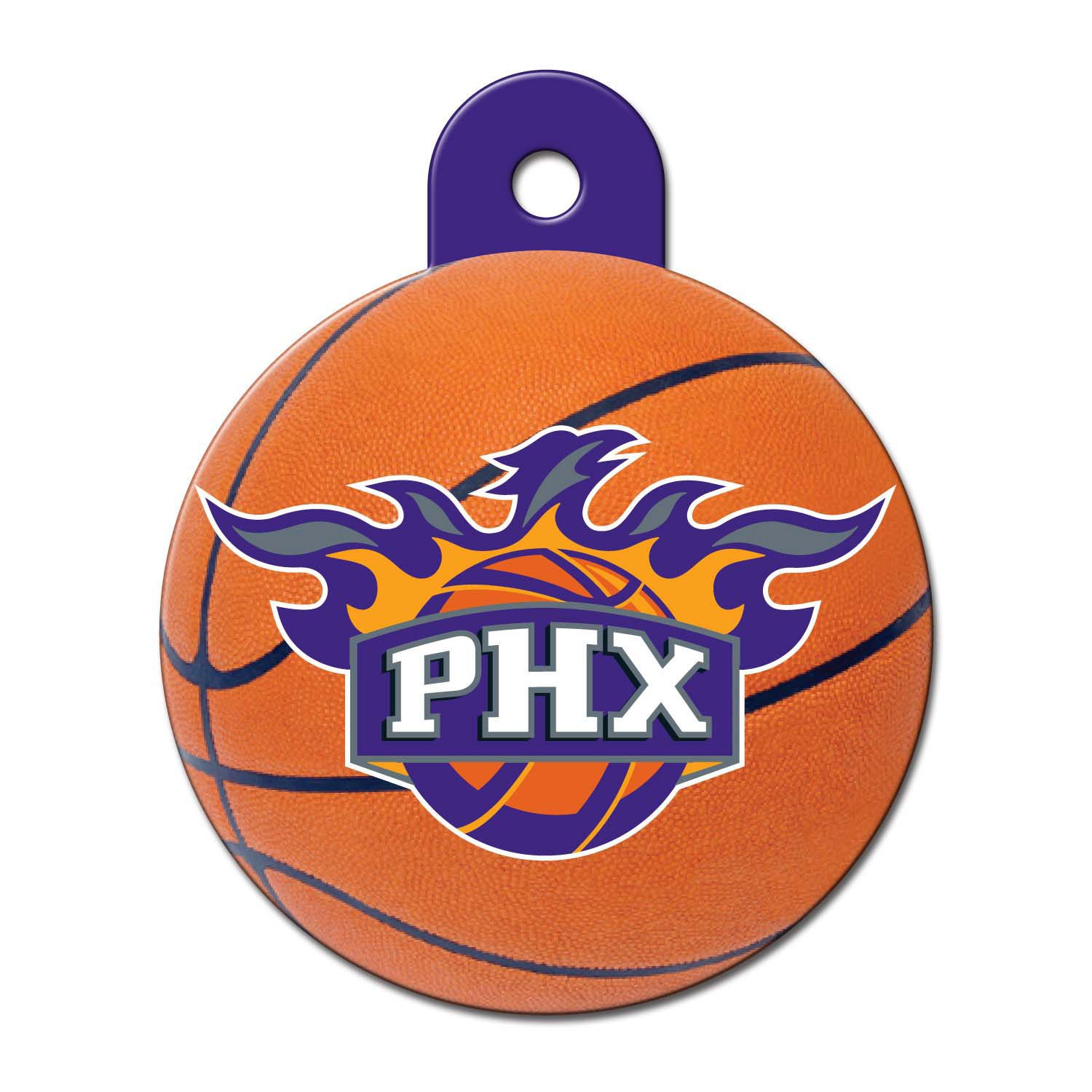 Quick-Tag Phoenix Suns NBA Circle Personalized Engraved Pet ID Tag, Large