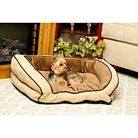 K&H Bolster Couch Dog Bed in Mocha & Tan