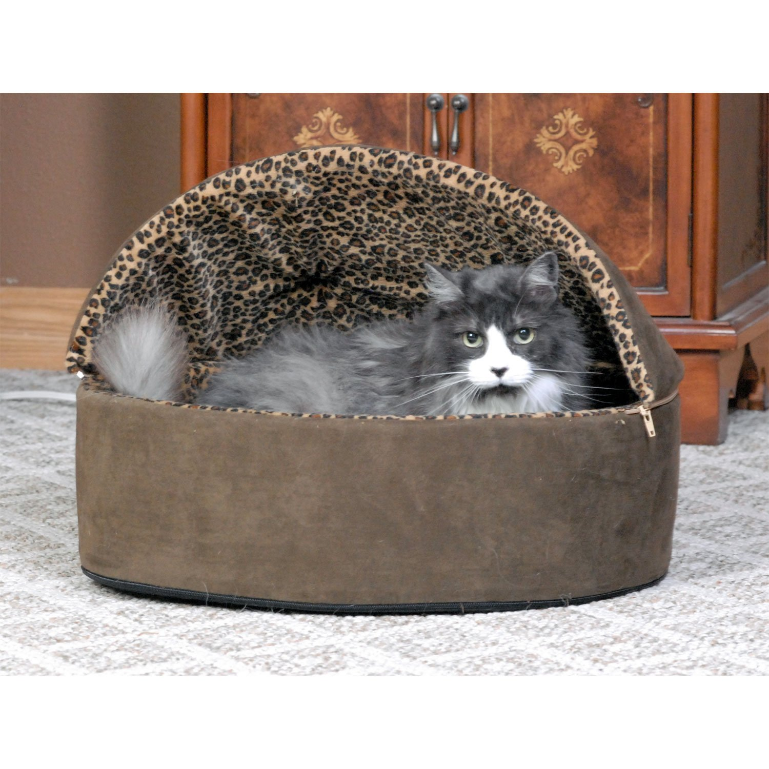 K Amp H Mocha Leopard Thermo Kitty Bed Deluxe Heated Cat Bed
