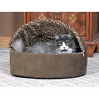 K&H Mocha Leopard Thermo-Kitty Bed Deluxe Heated Cat Bed