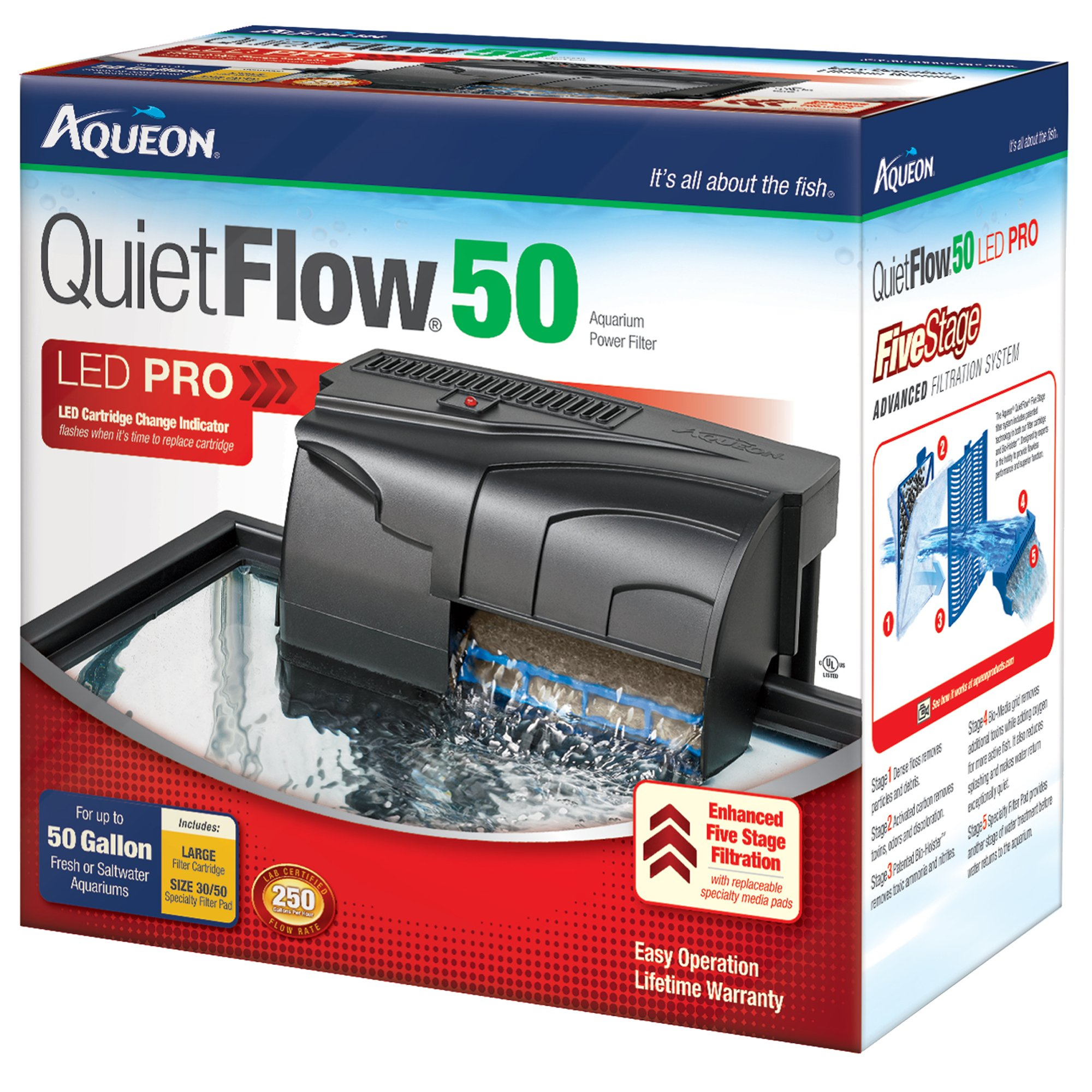Aqueon quietflow 50 aquarium power filter petco for Petco fish tank filters