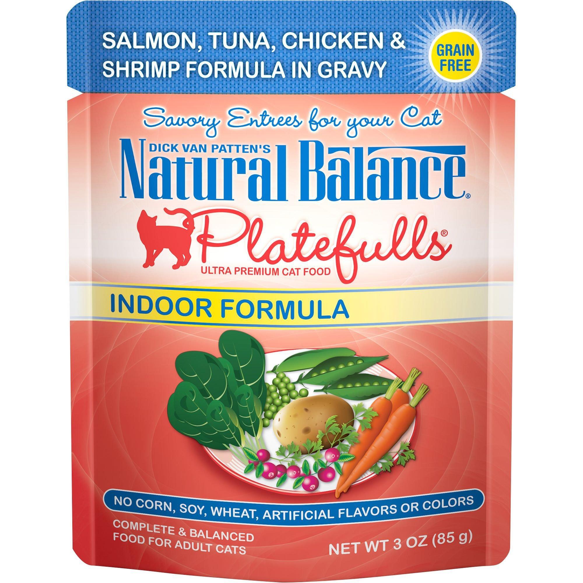 Natural Balance Platefulls Salmon, Tuna, Chicken & Shrimp Indoor Adult Cat Food