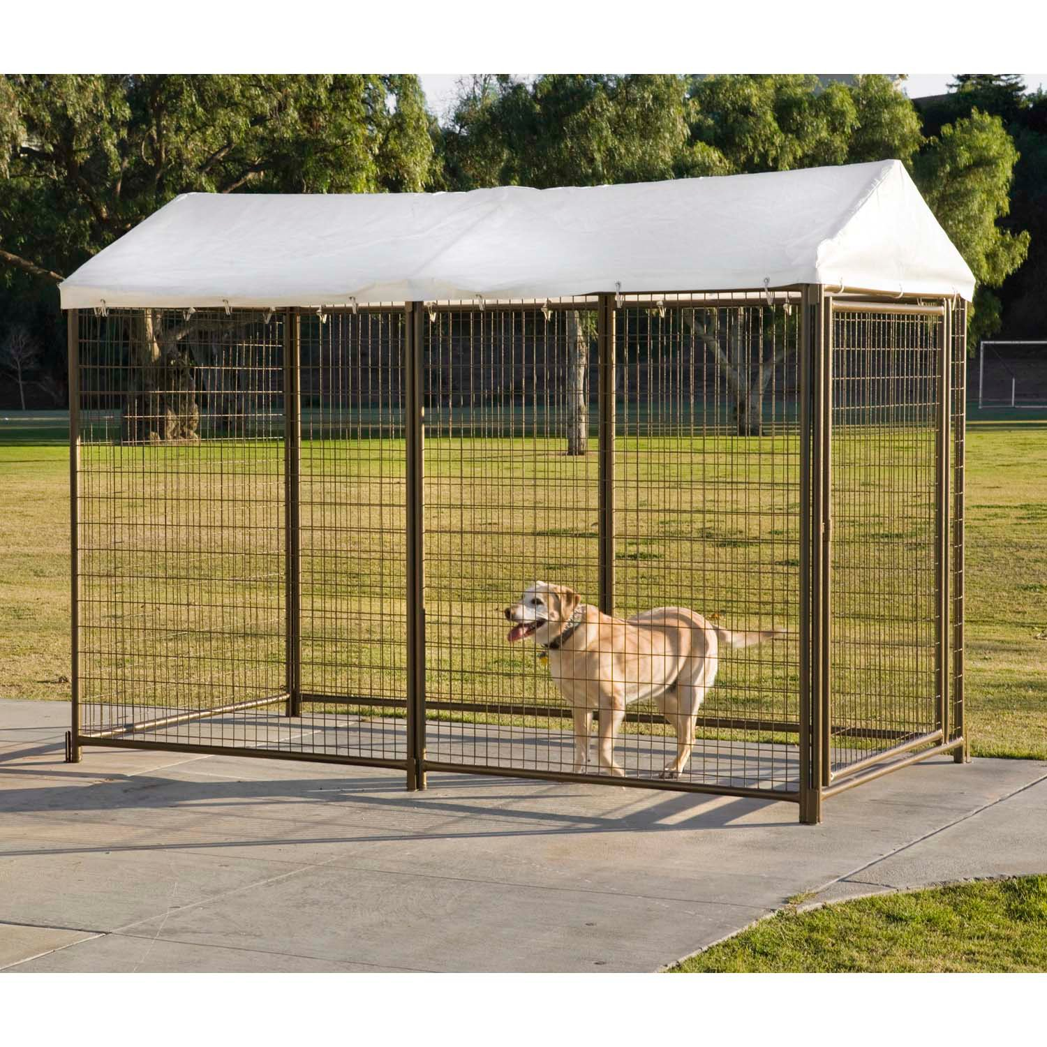 Image gallery outdoor kennel for Dog run outdoor kennel house
