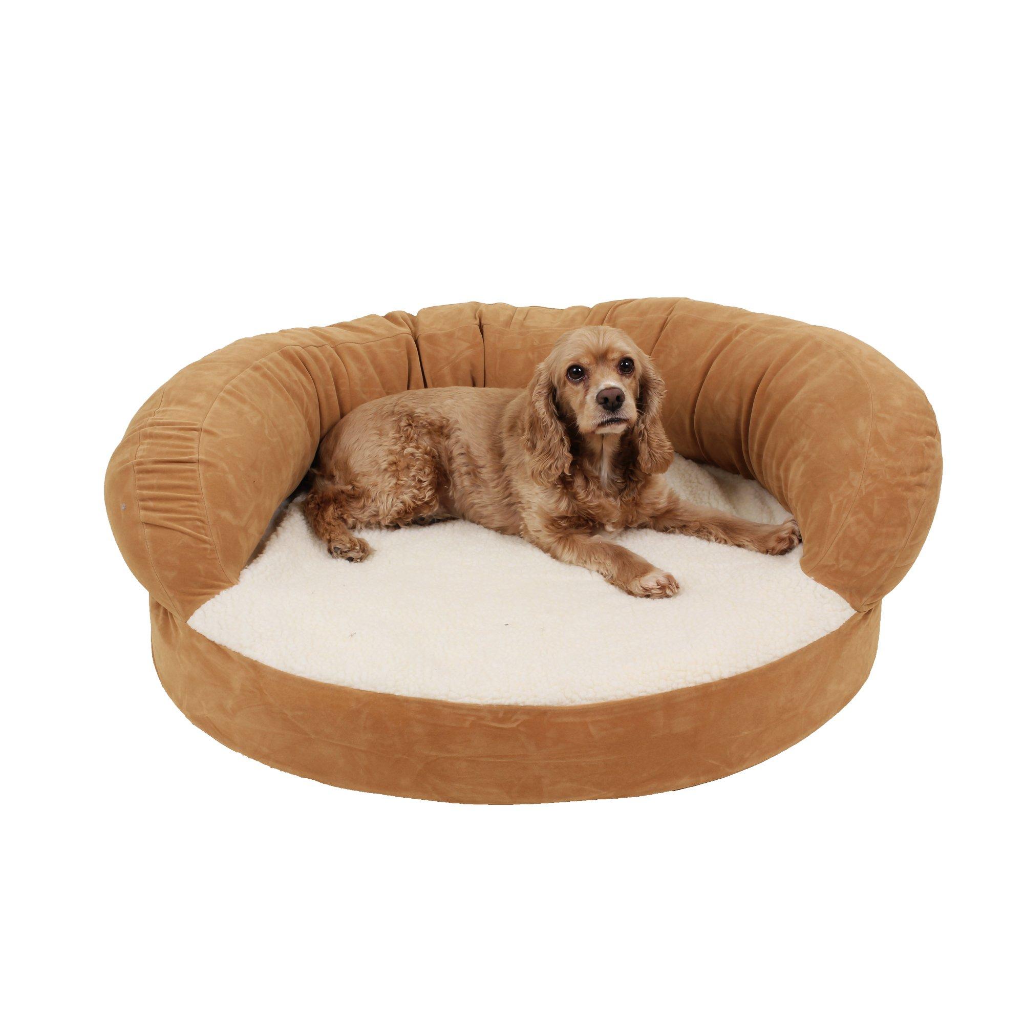 Carolina Pet Company Caramel Colored Orthopedic Bolster Personalized Dog Bed