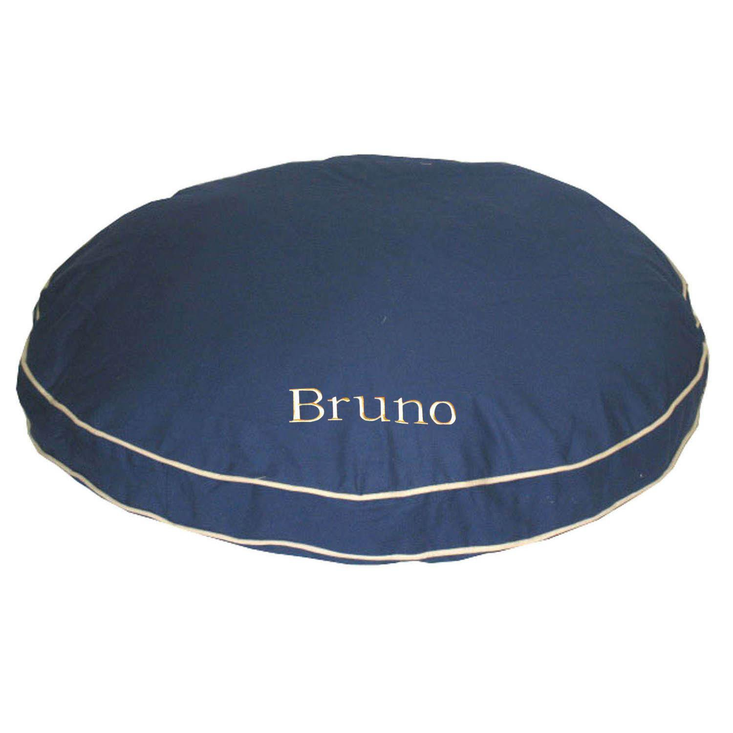 Carolina Pet Company Blue Classic Twill Round-A-Bout Personalized Dog Bed