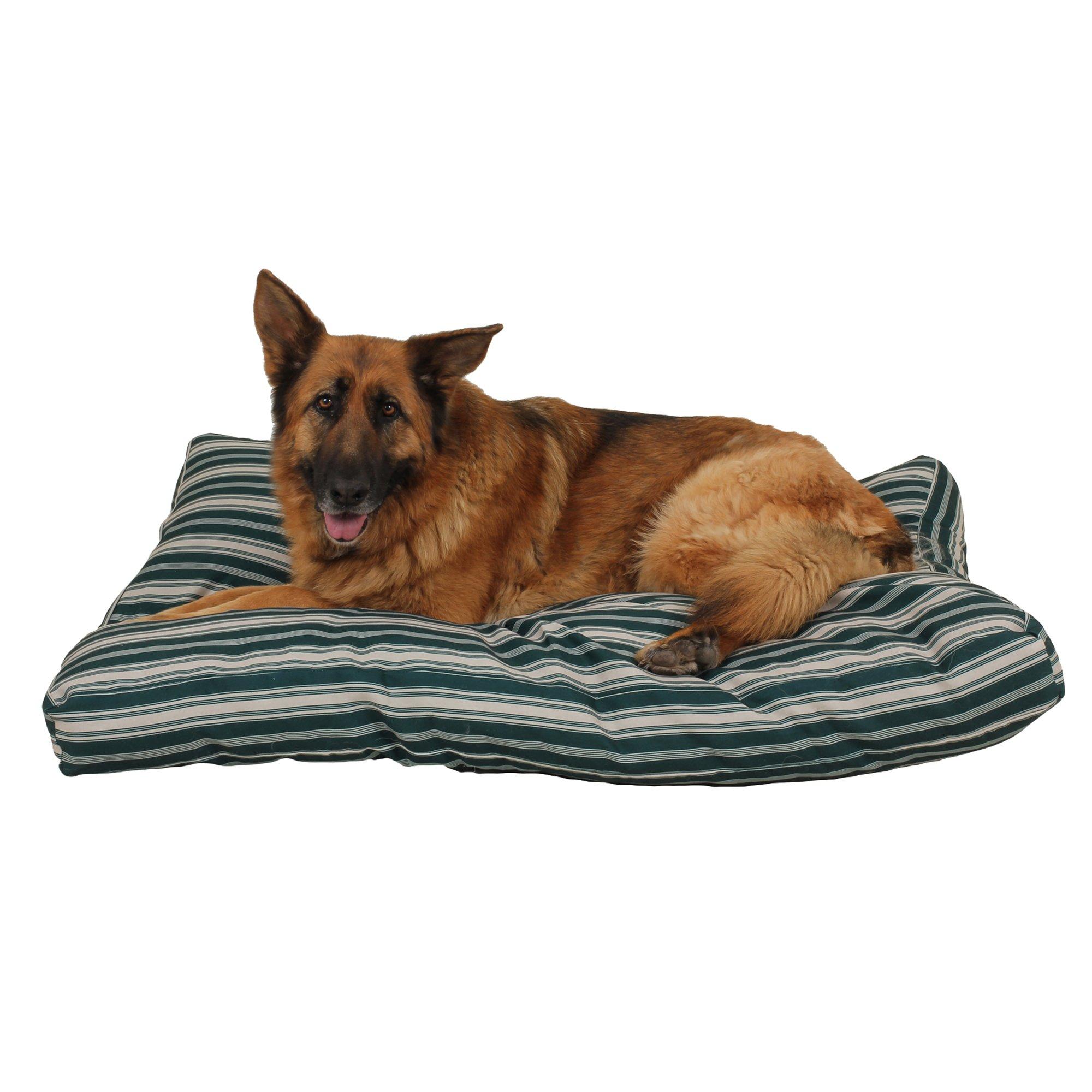 Carolina Pet Company Indoor Outdoor Jamison Green Striped Dog Bed