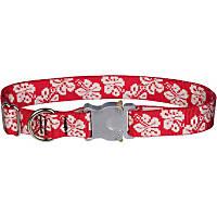 Bison Pet Bulldog Red Hawaiian Adjustable Dog Collar