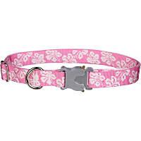 Bison Pet Bulldog Pink Hawaiian Adjustable Dog Collar
