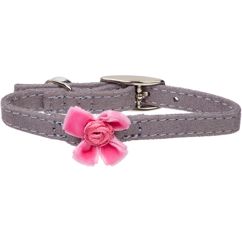 Petco Nylon Adjustable Fancy Pink Bow Kitten Collar in Gray