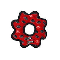 VIP Products Tuffy's Red Paw Print Jr Gear Ring Tug Dog Toy
