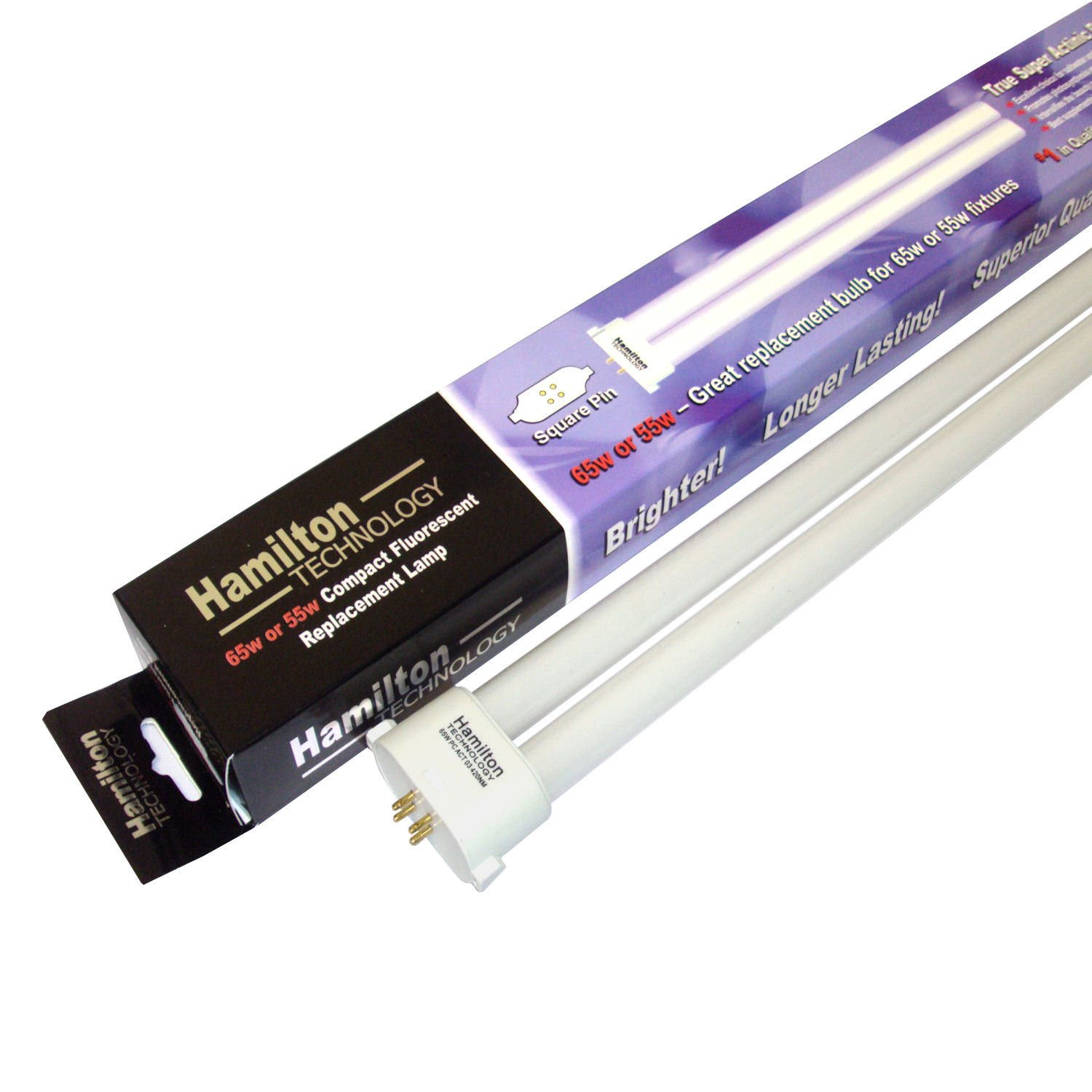 Hamilton Technology Compact Real Actinic 420nm 03 Blue Square Pin Aquarium Lamp, 55/65 Watts