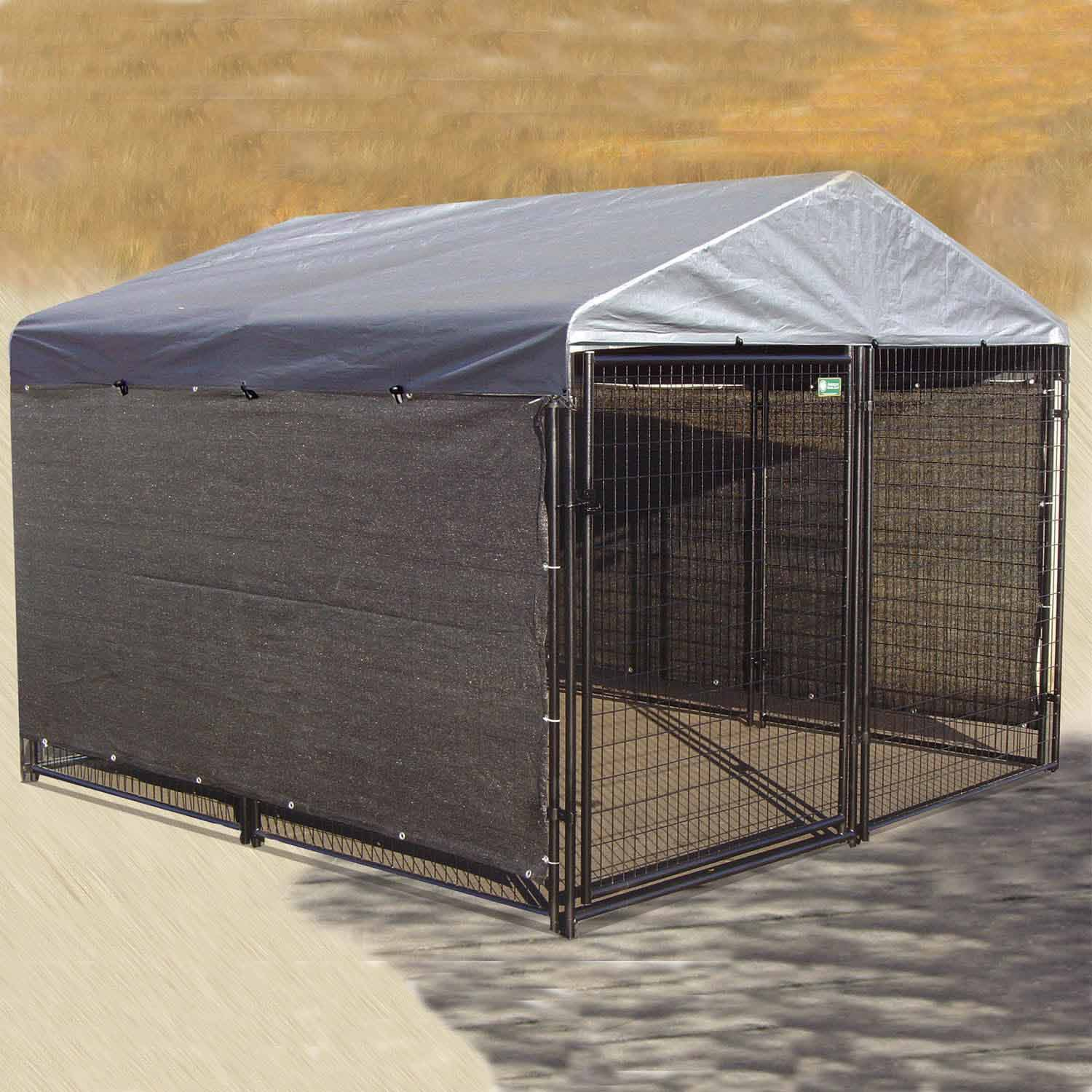 Dog kennel shade kit windscreen cover side weather guard for Outside covered dog kennels