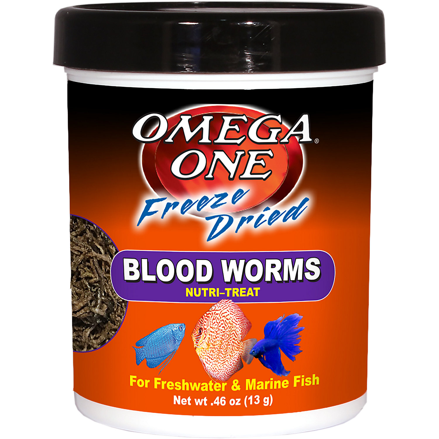 Omega One Freeze Dried Blood Worms .46 Oz.