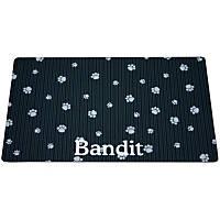 Drymate Black & Gray Paw Print Personalized Cat Litter Box Mat
