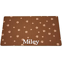 Drymate Brown & Tan Paw Print Personalized Cat Litter Box Mat