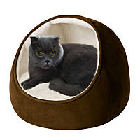 Soft Touch Faux Suede Hood Snuggler Brown Cat Bed