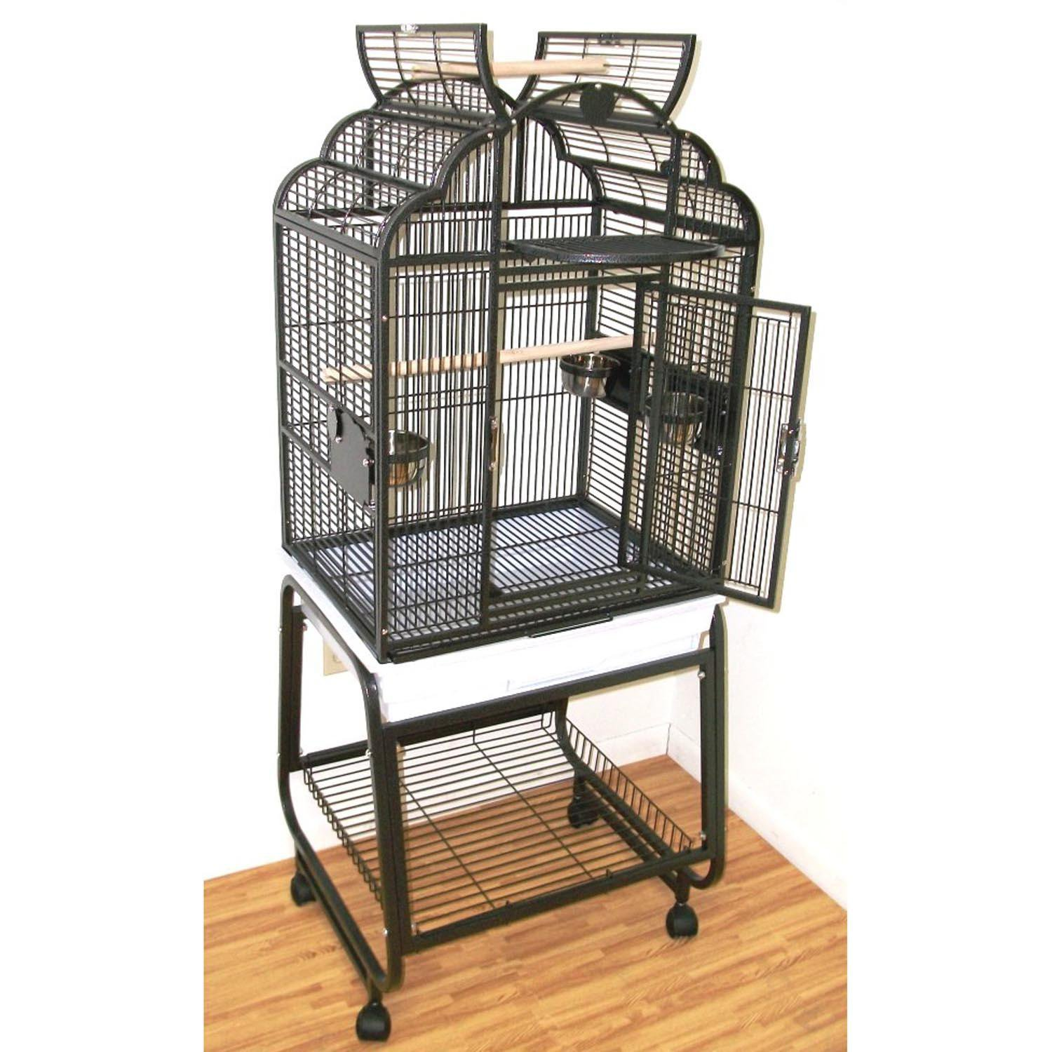 HQ Opening Victorian Top with Cart Stand Bird Cage in Black