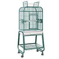 HQ Opening Square Top with Cart Bird Cage in Green